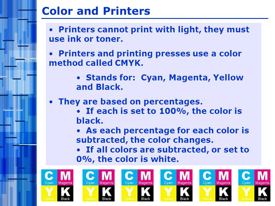 Printers cannot print with light, they must use ink or toner.