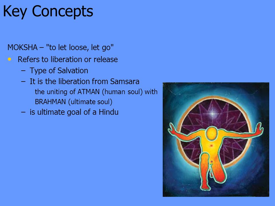 Key Concepts MOKSHA – to let loose, let go Refers to liberation or release – –Type of Salvation – –It is the liberation from Samsara the uniting of ATMAN (human soul) with BRAHMAN (ultimate soul) – –is ultimate goal of a Hindu