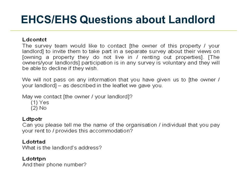 EHCS/EHS Questions about Landlord