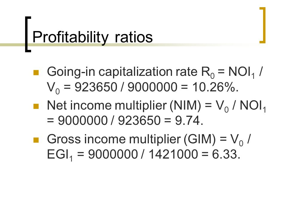 Profitability ratios Going-in capitalization rate R 0 = NOI 1 / V 0 = / = 10.26%.