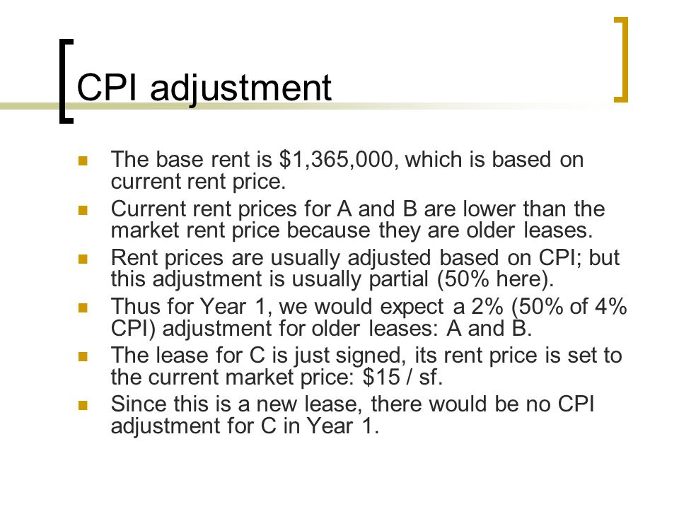 CPI adjustment The base rent is $1,365,000, which is based on current rent price.