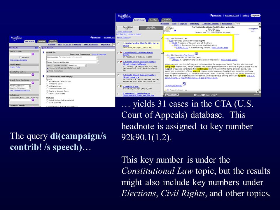 The query di(campaign/s contrib. /s speech)… … yields 31 cases in the CTA (U.S.