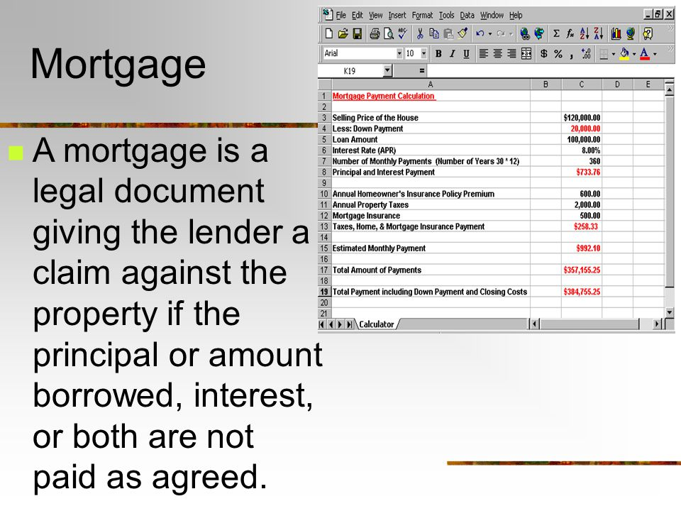 Mortgage A mortgage is a legal document giving the lender a claim against the property if the principal or amount borrowed, interest, or both are not paid as agreed.