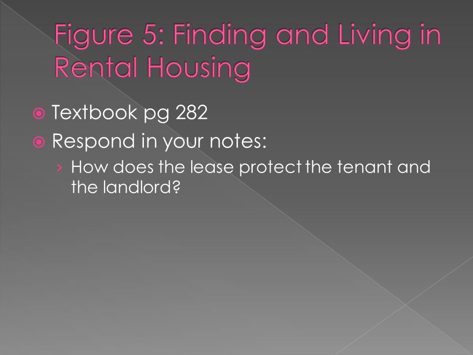  Textbook pg 282  Respond in your notes: › How does the lease protect the tenant and the landlord