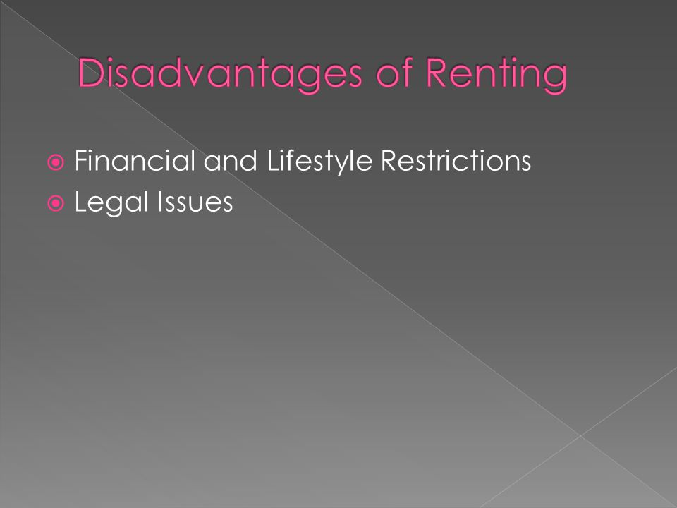  Financial and Lifestyle Restrictions  Legal Issues