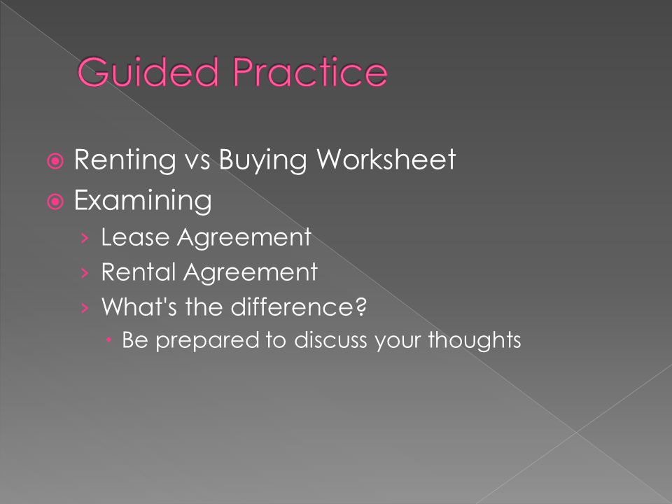  Renting vs Buying Worksheet  Examining › Lease Agreement › Rental Agreement › What s the difference.