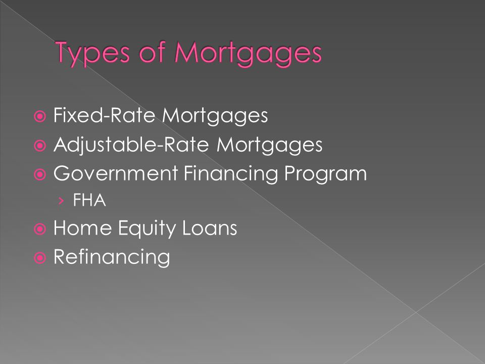  Fixed-Rate Mortgages  Adjustable-Rate Mortgages  Government Financing Program › FHA  Home Equity Loans  Refinancing