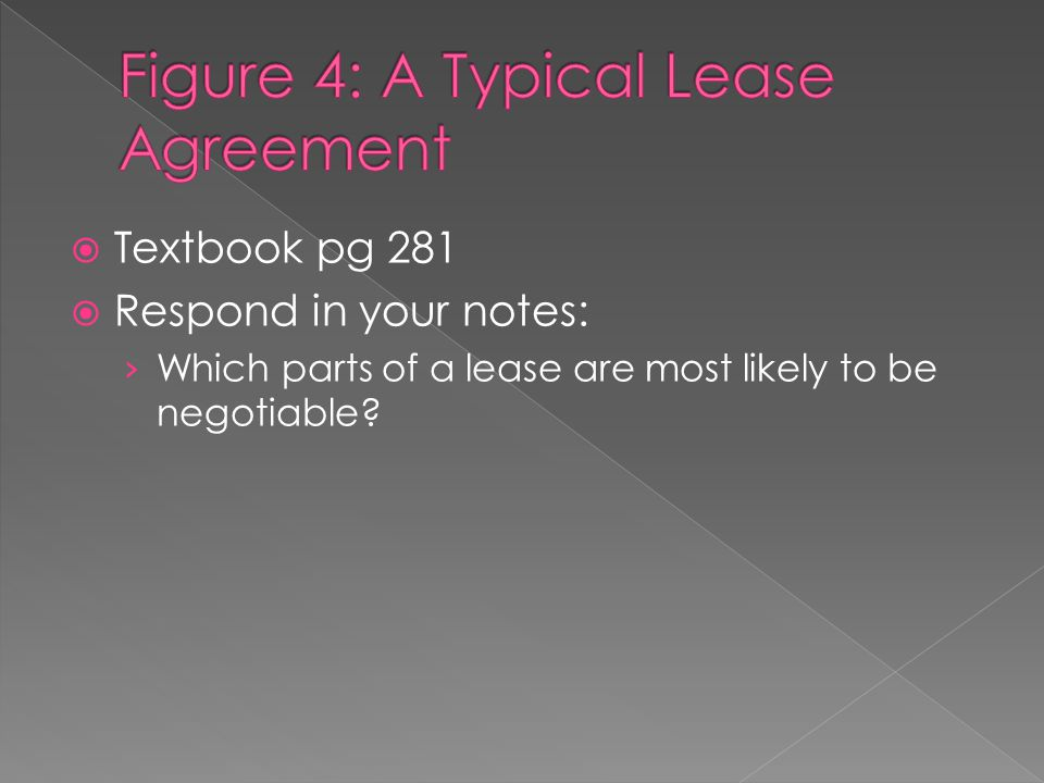  Textbook pg 281  Respond in your notes: › Which parts of a lease are most likely to be negotiable