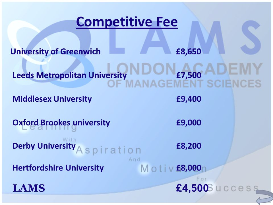 Competitive Fee University of Greenwich £8,650 Leeds Metropolitan University £7,500 Middlesex University £9,400 Oxford Brookes university £9,000 Derby University £8,200 Hertfordshire University£8,000 LAMS £4,500 University of Greenwich £8,650 Leeds Metropolitan University £7,500