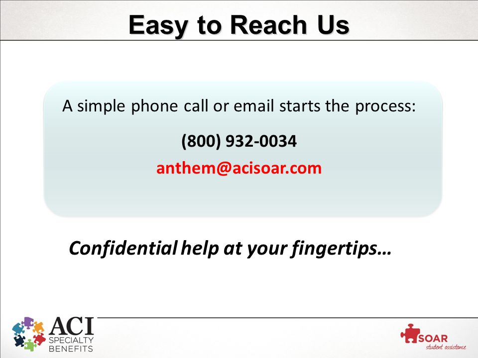 Easy to Reach Us Confidential help at your fingertips… A simple phone call or  starts the process: (800)