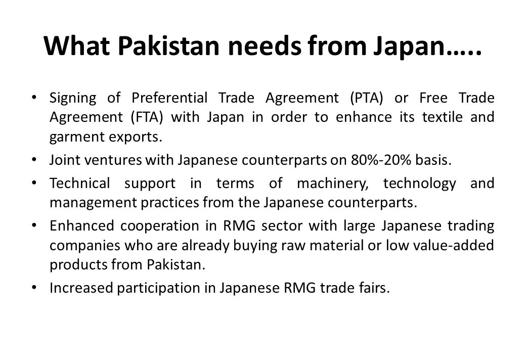 What Pakistan needs from Japan…..