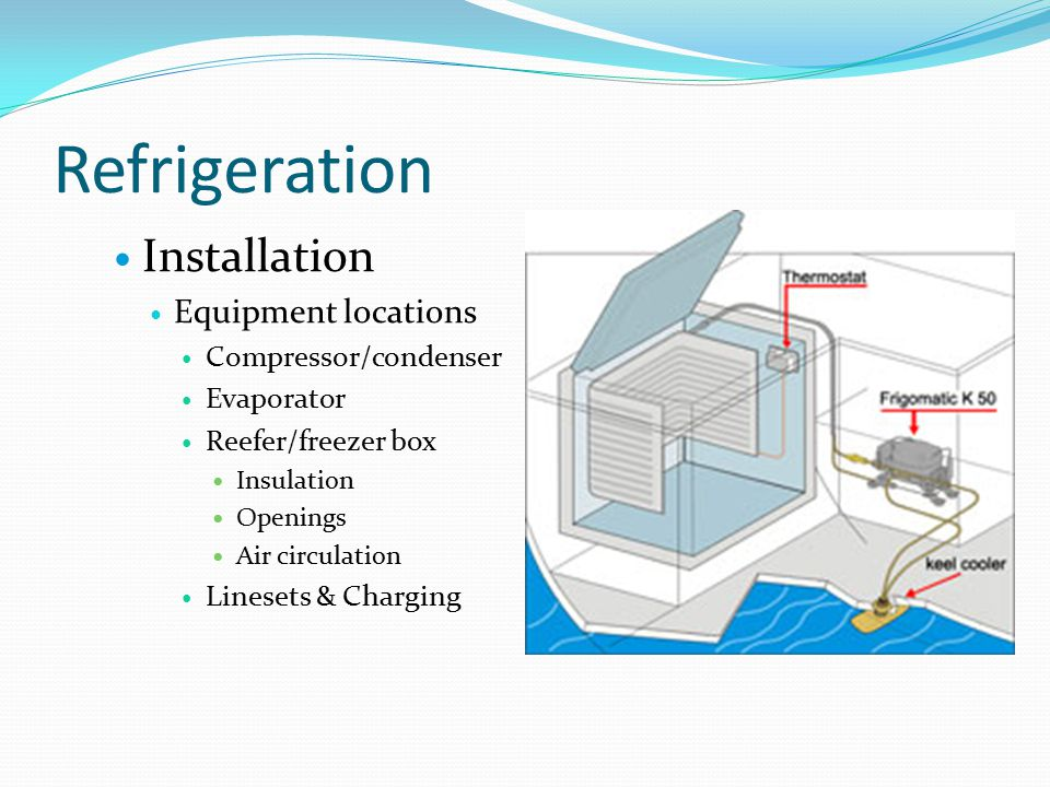 Refrigeration Installation Equipment locations Compressor/condenser Evaporator Reefer/freezer box Insulation Openings Air circulation Linesets & Charging