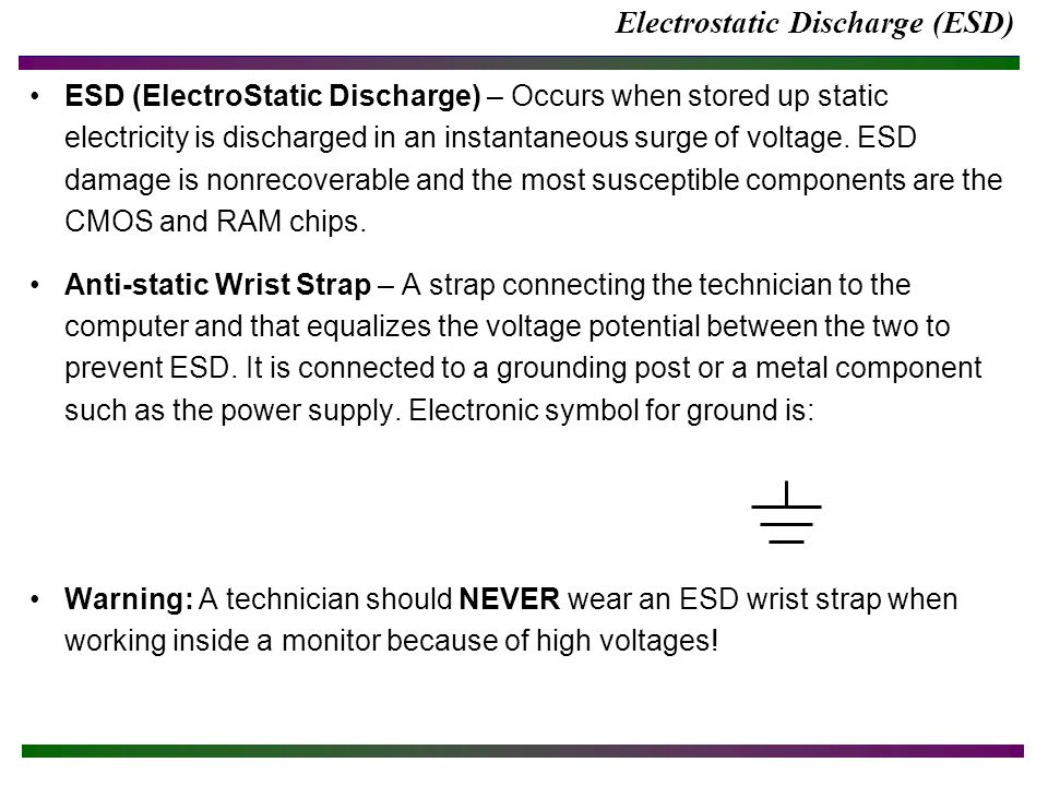 Electrostatic Discharge (ESD) ESD (ElectroStatic Discharge) – Occurs when stored up static electricity is discharged in an instantaneous surge of voltage.