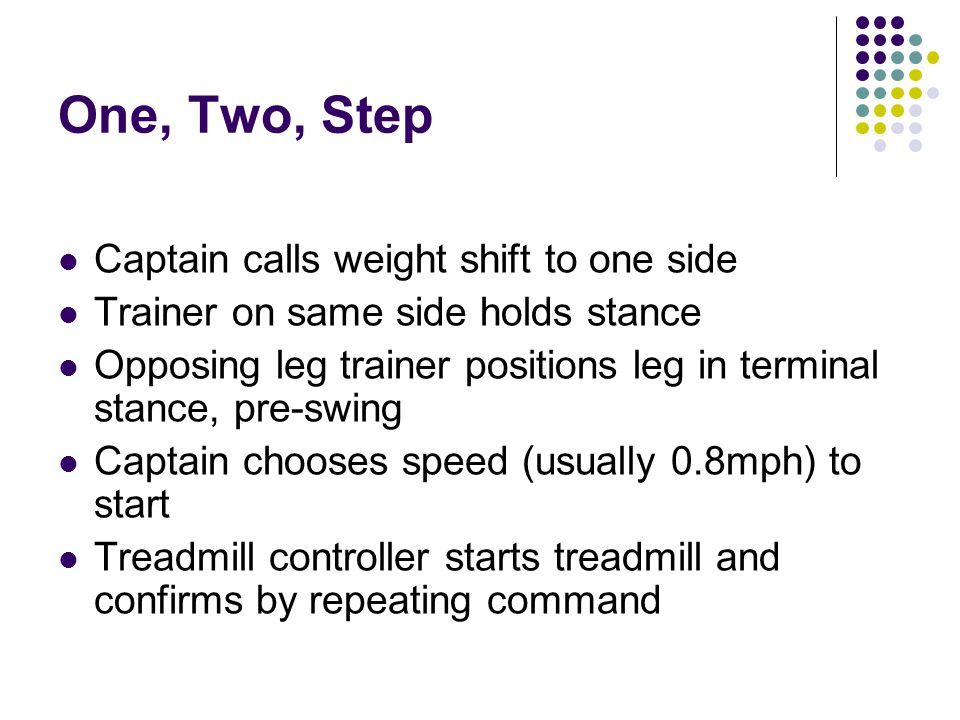 One, Two, Step Captain calls weight shift to one side Trainer on same side holds stance Opposing leg trainer positions leg in terminal stance, pre-swing Captain chooses speed (usually 0.8mph) to start Treadmill controller starts treadmill and confirms by repeating command