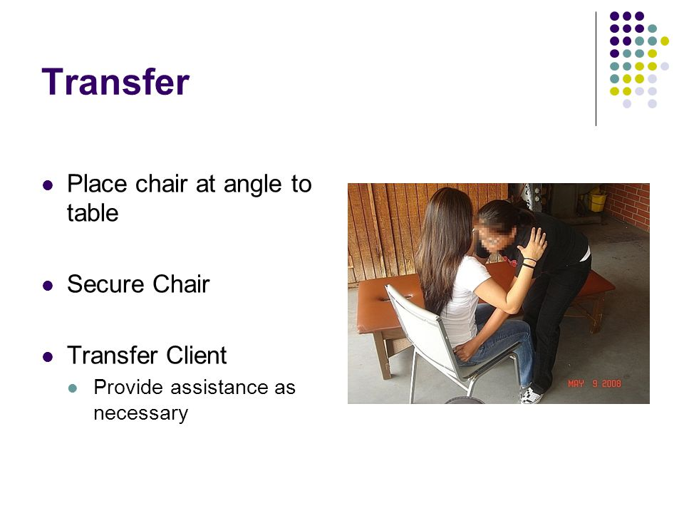 Transfer Place chair at angle to table Secure Chair Transfer Client Provide assistance as necessary