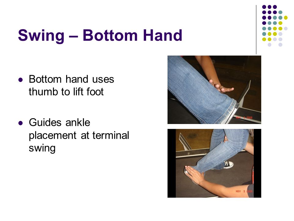 Swing – Bottom Hand Bottom hand uses thumb to lift foot Guides ankle placement at terminal swing