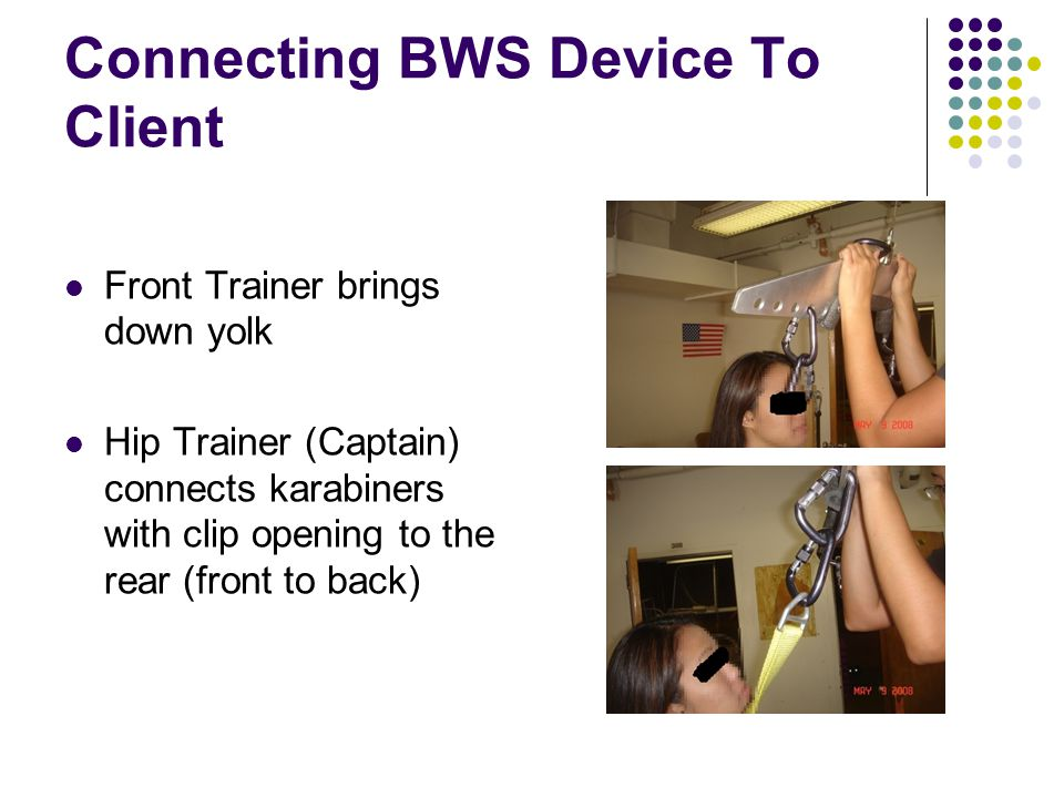 Connecting BWS Device To Client Front Trainer brings down yolk Hip Trainer (Captain) connects karabiners with clip opening to the rear (front to back)