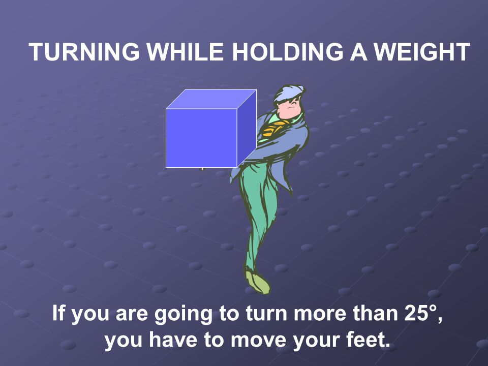 TURNING WHILE HOLDING A WEIGHT If you are going to turn more than 25°, you have to move your feet.