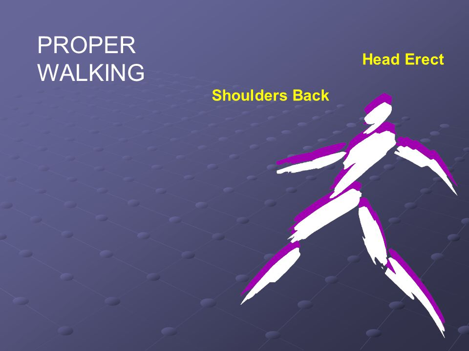 PROPER WALKING Head Erect Shoulders Back