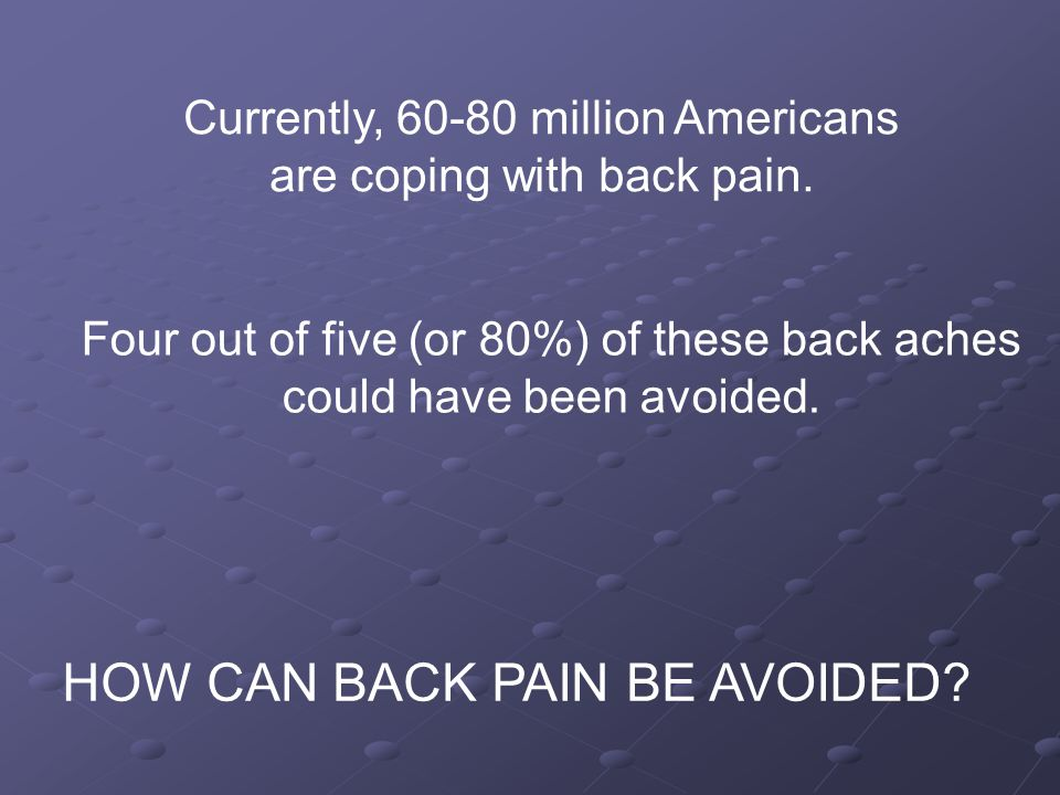 Four out of five (or 80%) of these back aches could have been avoided.
