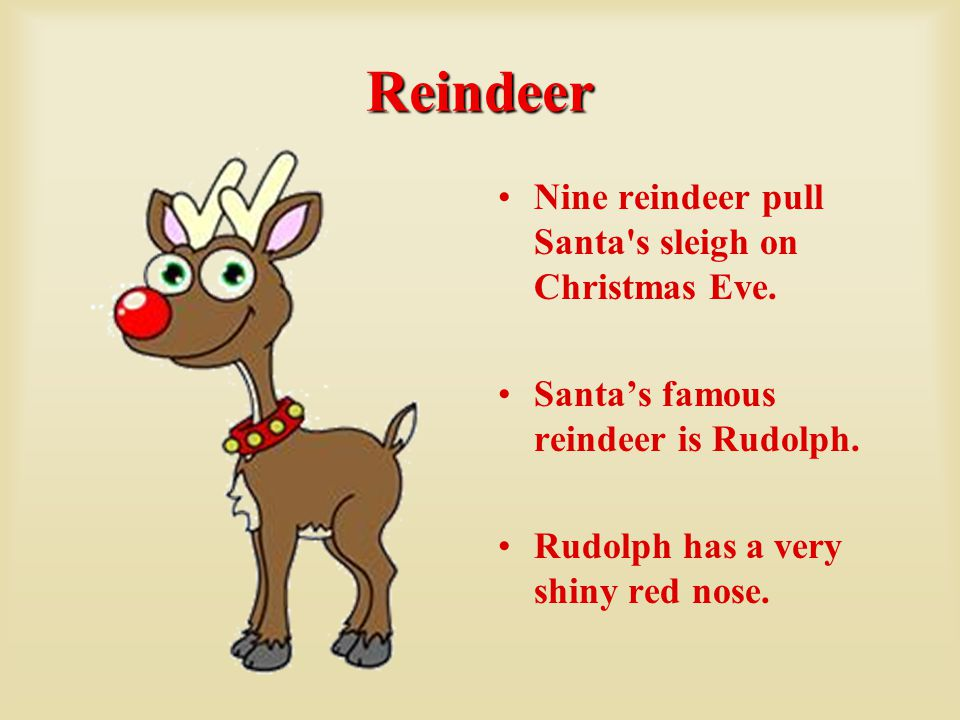 Reindeer Nine reindeer pull Santa s sleigh on Christmas Eve.