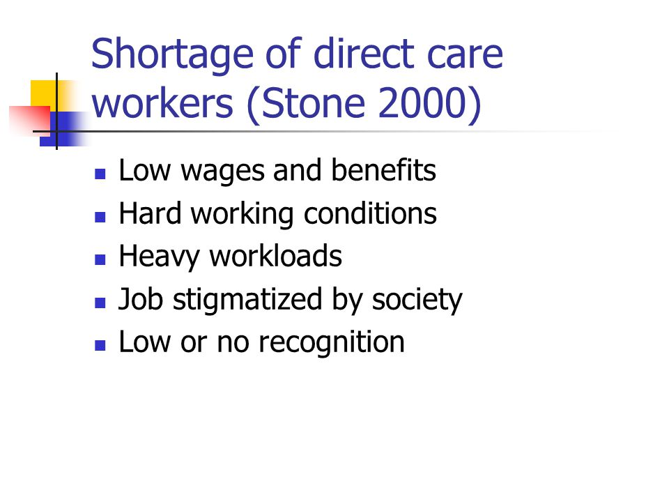 Shortage of direct care workers (Stone 2000) Low wages and benefits Hard working conditions Heavy workloads Job stigmatized by society Low or no recognition