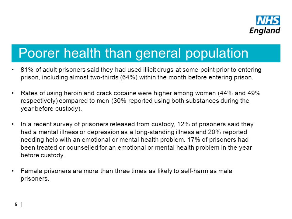 Poorer health than general population 81% of adult prisoners said they had used illicit drugs at some point prior to entering prison, including almost two-thirds (64%) within the month before entering prison.