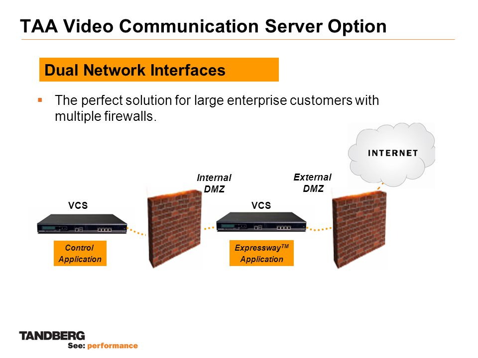 TAA Video Communication Server Option  The perfect solution for large enterprise customers with multiple firewalls.