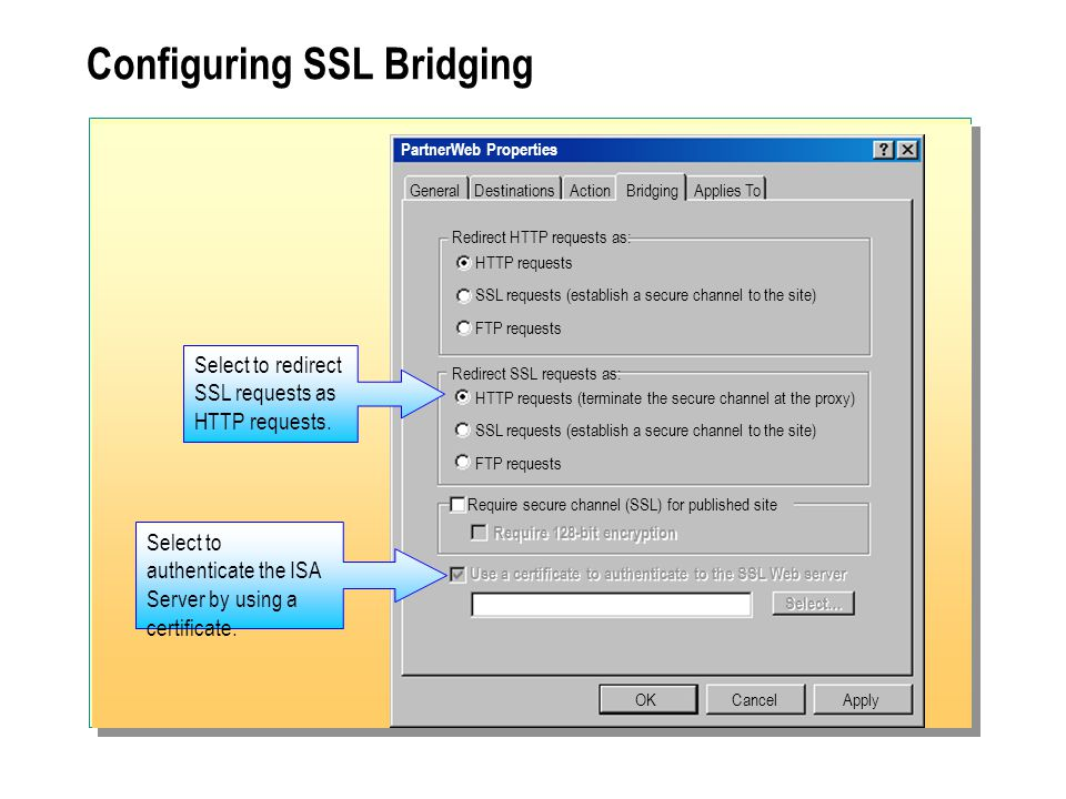 Configuring SSL Bridging PartnerWeb Properties OKCancel Redirect HTTP requests as: HTTP requests SSL requests (establish a secure channel to the site) FTP requests Apply Redirect SSL requests as: HTTP requests (terminate the secure channel at the proxy) SSL requests (establish a secure channel to the site) FTP requests Require secure channel (SSL) for published site Require 128-bit encryption Select to authenticate the ISA Server by using a certificate.
