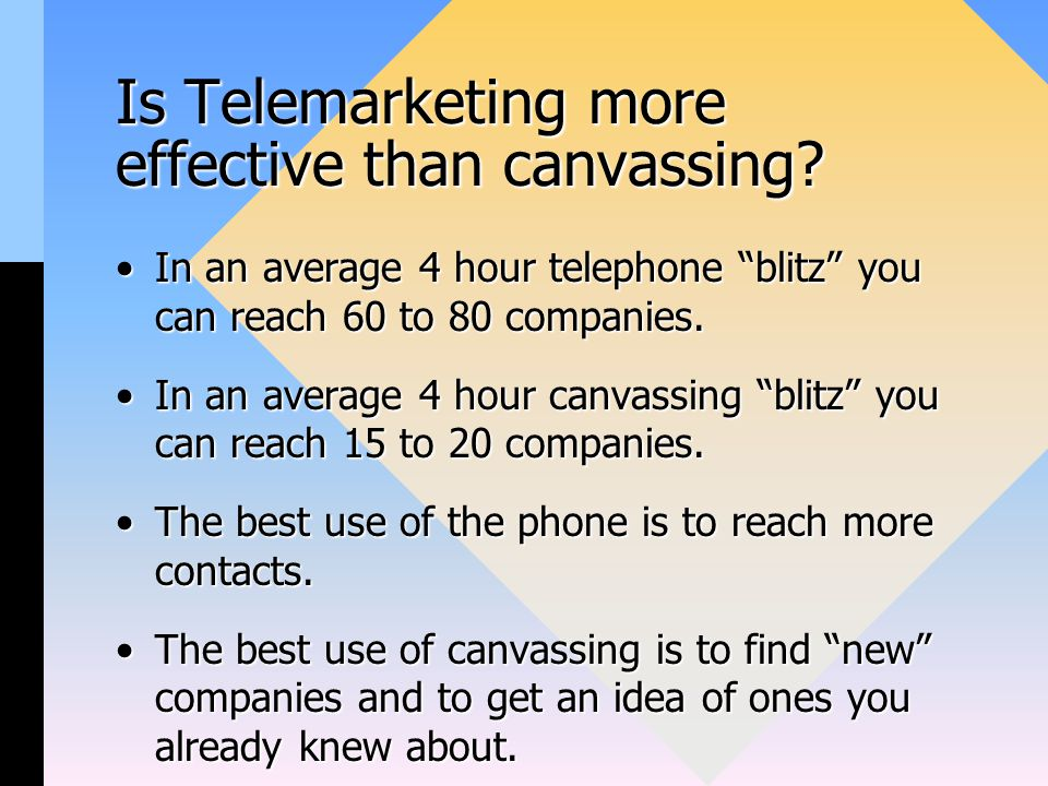 Is Telemarketing more effective than canvassing.