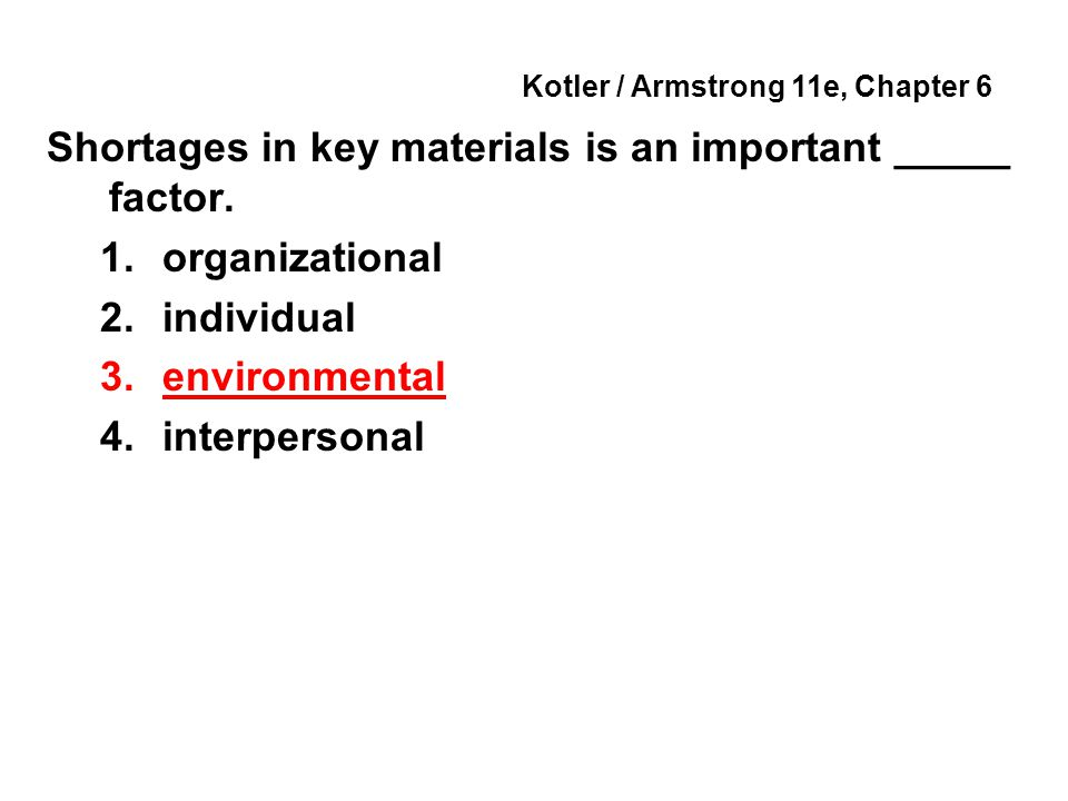 Kotler / Armstrong 11e, Chapter 6 Shortages in key materials is an important _____ factor.