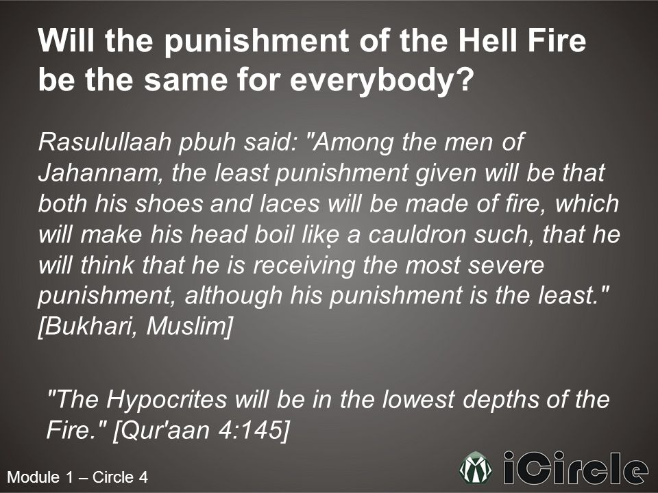 Module 1 – Circle 4 Will the punishment of the Hell Fire be the same for everybody.