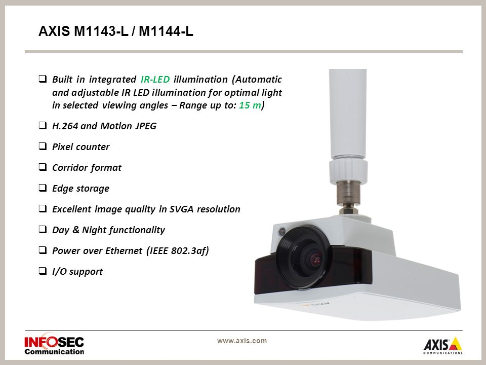  Built in integrated IR-LED illumination (Automatic and adjustable IR LED illumination for optimal light in selected viewing angles – Range up to: 15 m)  H.264 and Motion JPEG  Pixel counter  Corridor format  Edge storage  Excellent image quality in SVGA resolution  Day & Night functionality  Power over Ethernet (IEEE 802.3af)  I/O support AXIS M1143-L / M1144-L