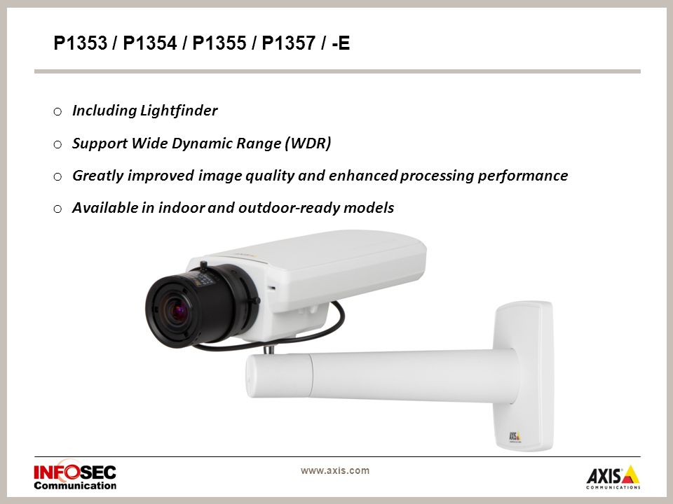 o Including Lightfinder o Support Wide Dynamic Range (WDR) o Greatly improved image quality and enhanced processing performance o Available in indoor and outdoor-ready models P1353 / P1354 / P1355 / P1357 / -E