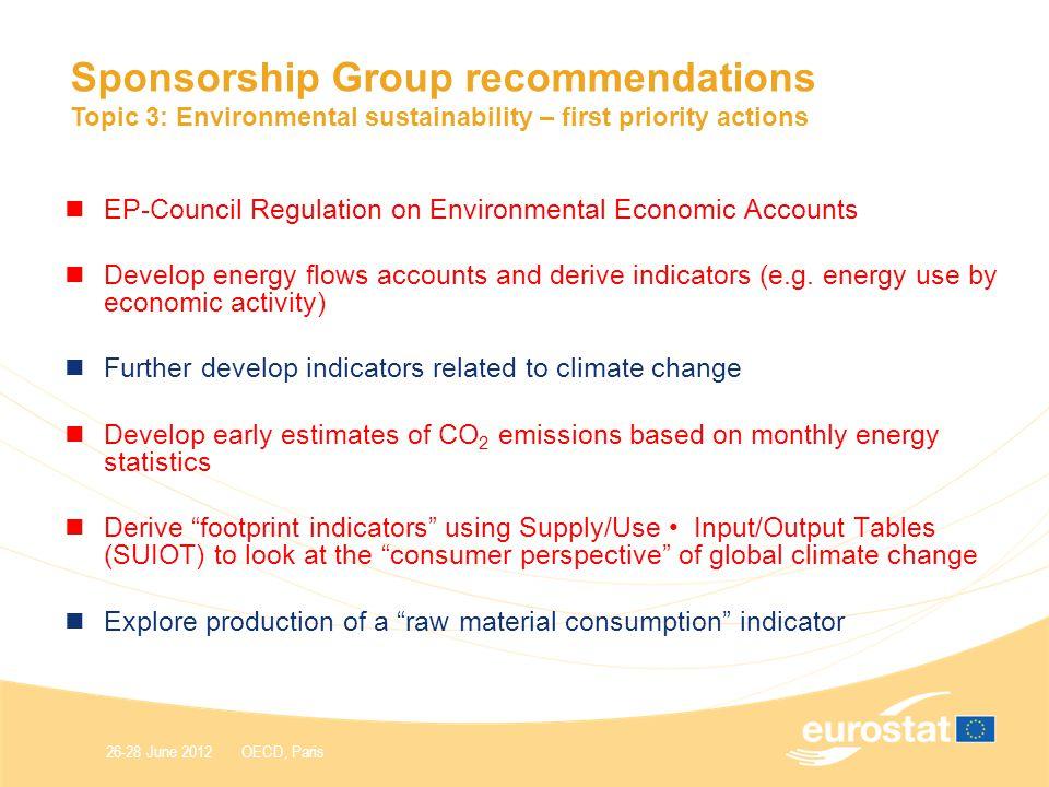 26-28 June 2012 OECD, Paris Sponsorship Group recommendations Topic 3: Environmental sustainability – first priority actions EP-Council Regulation on Environmental Economic Accounts Develop energy flows accounts and derive indicators (e.g.