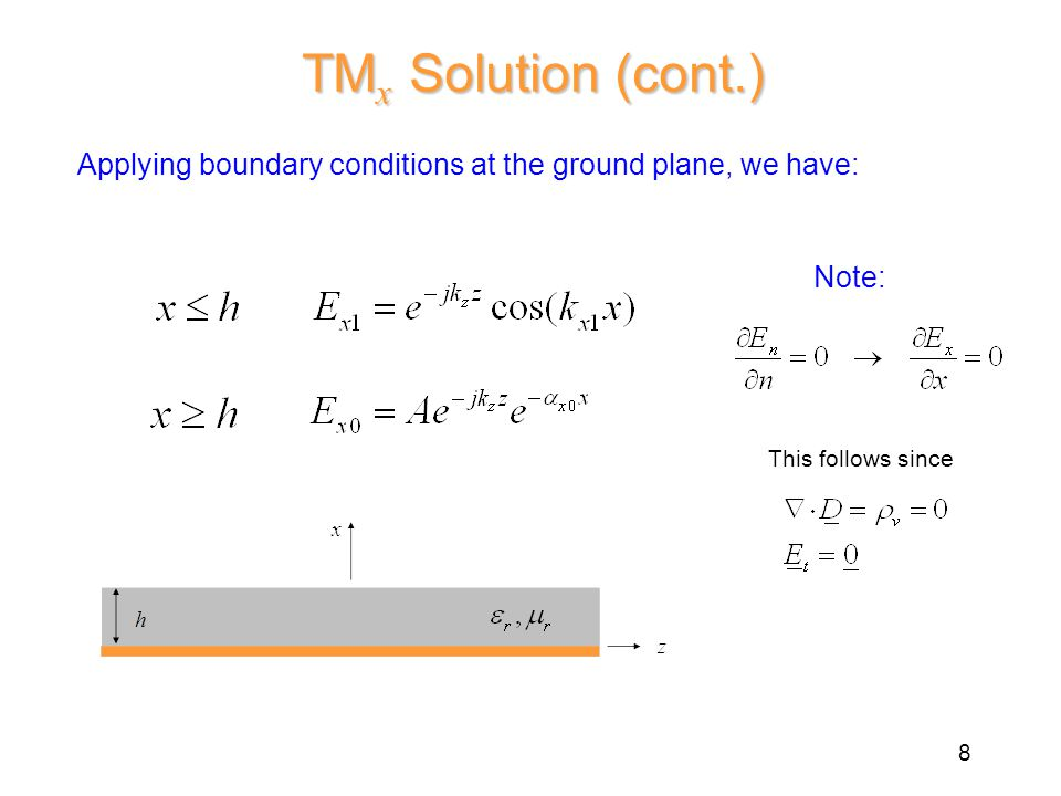 Applying boundary conditions at the ground plane, we have: TM x Solution (cont.) This follows since Note: 8