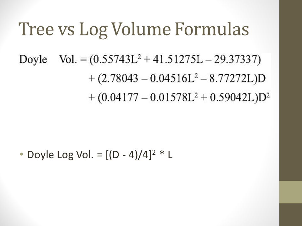 Tree vs Log Volume Formulas Doyle Log Vol. = [(D - 4)/4] 2 * L