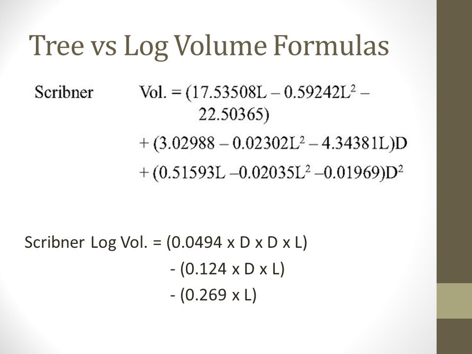 Tree vs Log Volume Formulas Scribner Log Vol.