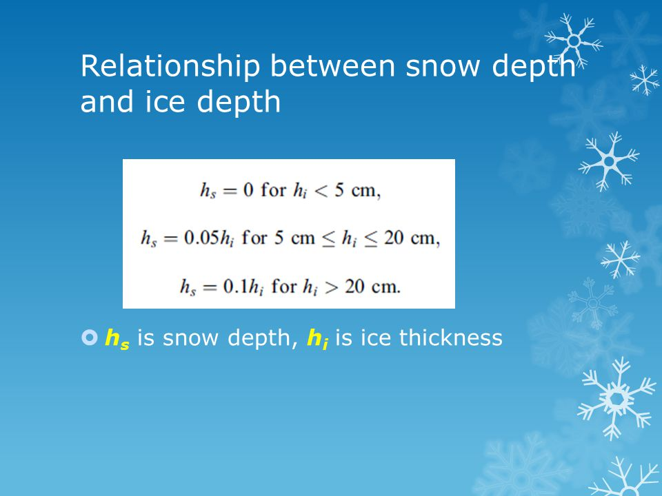 Relationship between snow depth and ice depth  h s is snow depth, h i is ice thickness