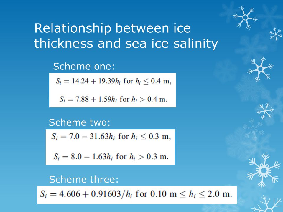 Relationship between ice thickness and sea ice salinity Scheme one: Scheme two: Scheme three:
