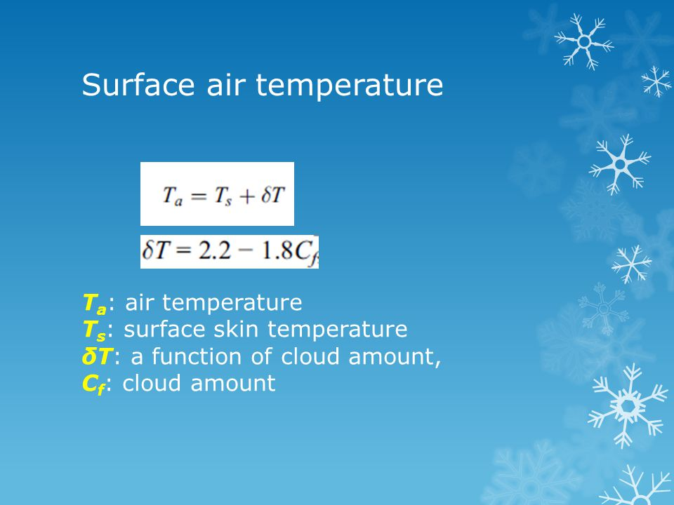 Surface air temperature T a : air temperature T s : surface skin temperature δT: a function of cloud amount, C f : cloud amount
