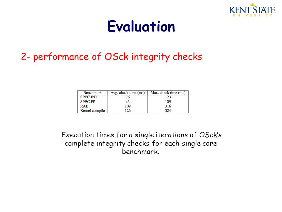Evaluation 2- performance of OSck integrity checks Execution times for a single iterations of OSck's complete integrity checks for each single core benchmark.
