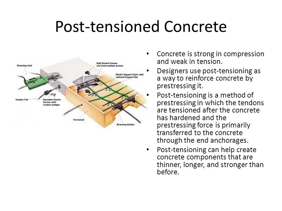 Post-tensioned Concrete Concrete is strong in compression and weak in tension.