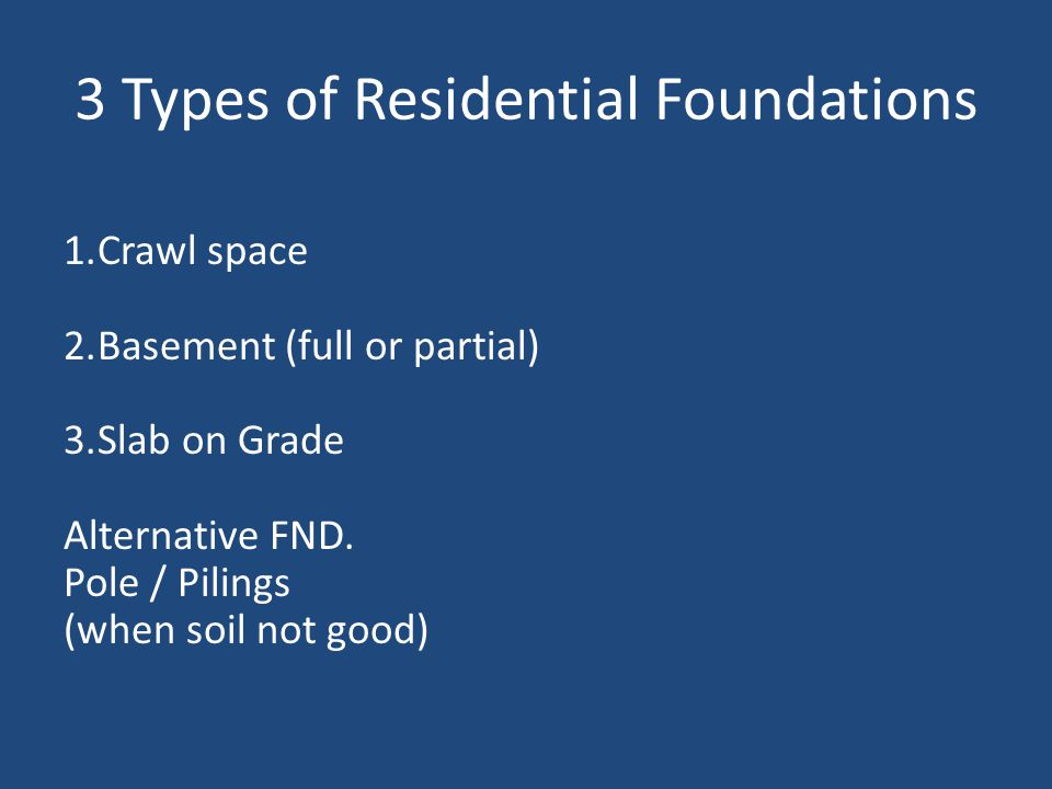 3 Types of Residential Foundations 1.Crawl space 2.Basement (full or partial) 3.Slab on Grade Alternative FND.