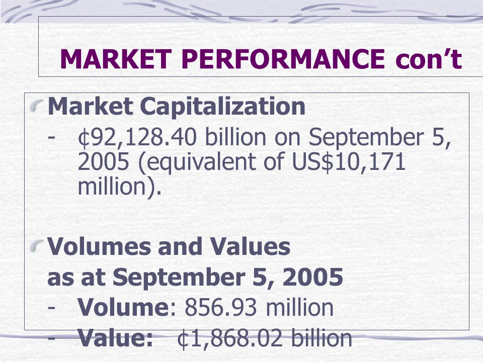 MARKET PERFORMANCE con't Market Capitalization -¢92, billion on September 5, 2005 (equivalent of US$10,171 million).