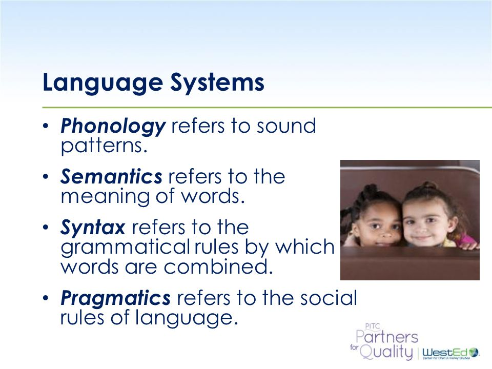 WestEd.org Language Systems Phonology refers to sound patterns.