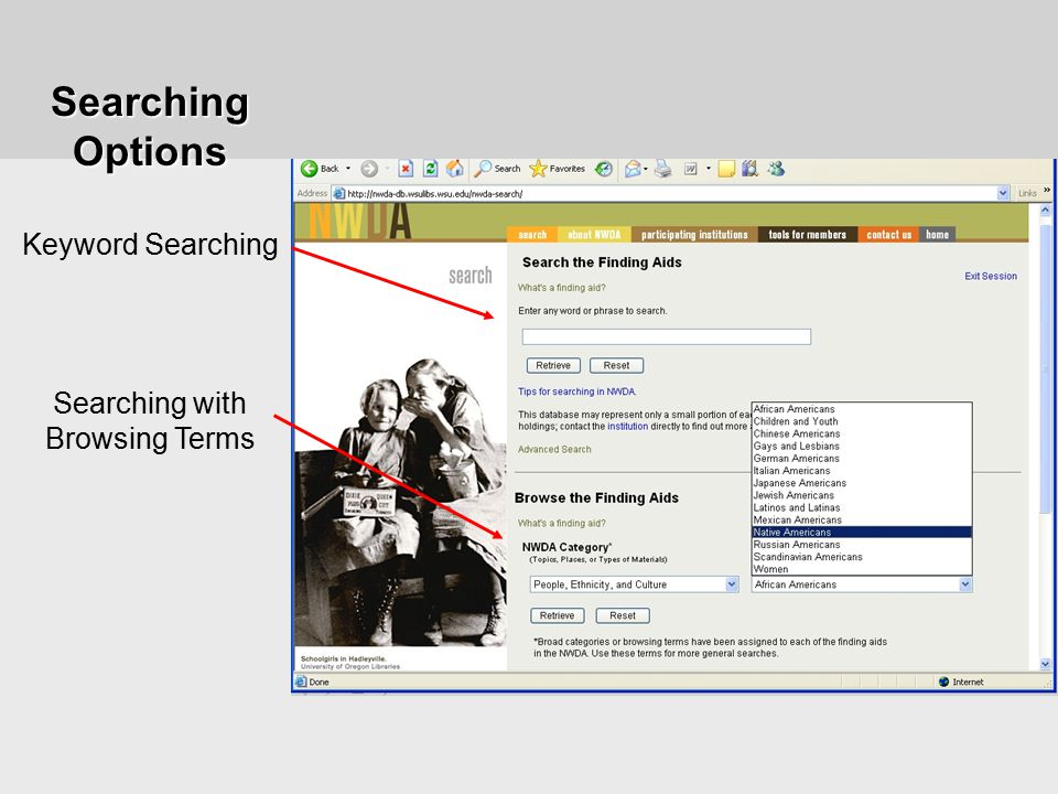 Keyword Searching Searching with Browsing Terms Searching Options