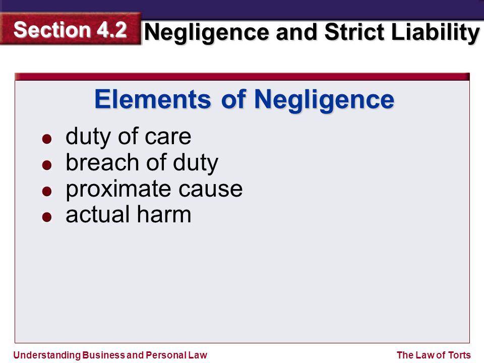 Understanding Business and Personal Law Negligence and Strict Liability Section 4.2 The Law of Torts duty of care breach of duty proximate cause actual harm Elements of Negligence