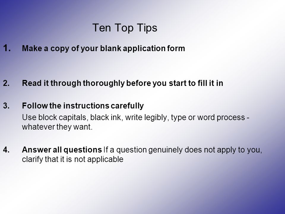 Ten Top Tips 1.