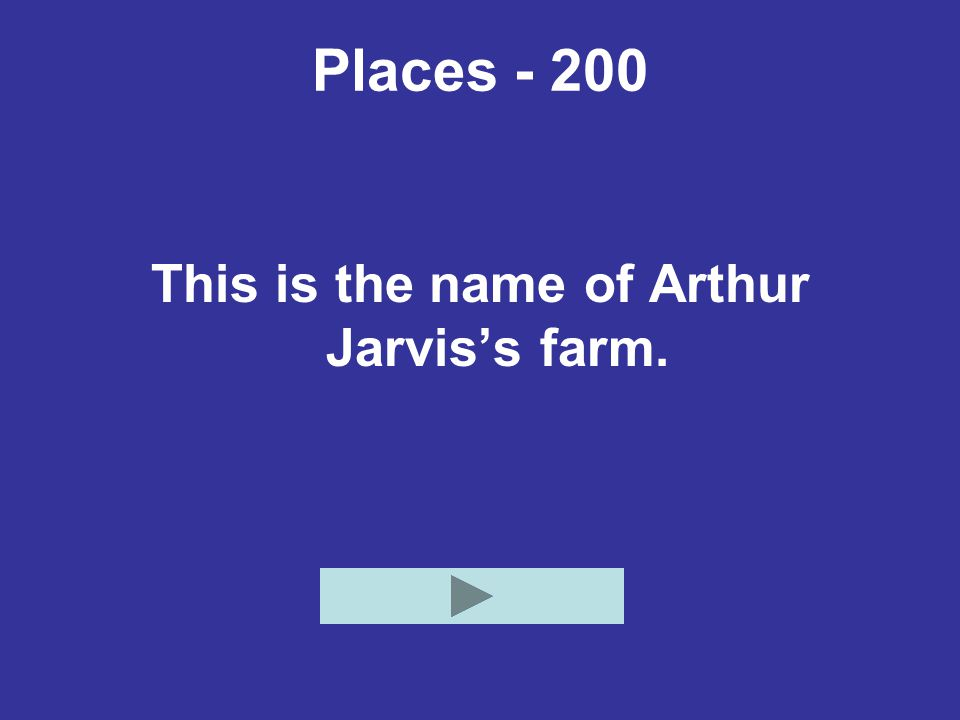 Places - 200 This is the name of Arthur Jarvis's farm.